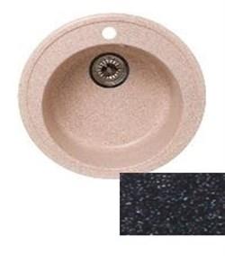 Мойка кухонная Ring d50см /черная/+Сифон Grand 3 1/2  с круглым переливом и винтом - фото 6757