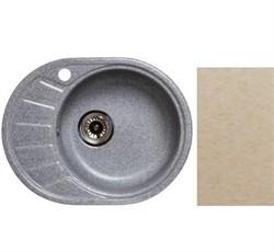 Мойка кухонная Oval 450*580 /песочная/ левое крыло+Сифон Grand 3 1/2  с круглым переливом и винтом - фото 6760