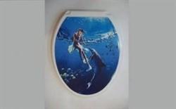 Сиденье для унитаза  Универсал Декор  Девушка с дельфином - фото 7900