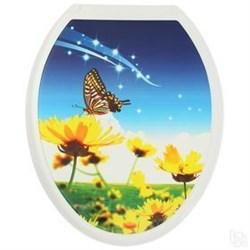Сиденье для унитаза  Универсал Декор  Бабочка на цветке - фото 7902