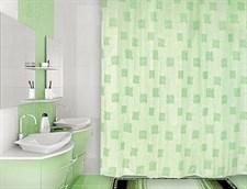 Занавеска (штора) для ванной комнаты тканевая 180х180 см Signs green