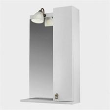 Зеркало 60, 1 светильник,шкаф.,полка, прав., Реймс, Белый