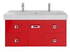 Тумба Астрид Красная 120/5Я см+Умывальник IFO Grandy 120, отвестия под 2 смесителя+Ножка для тумбы Астрид, Арнелла, 25 см