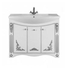 Тумба Кармен Белая (патина: серебро), 105 см+Умывальник Лагуна 105