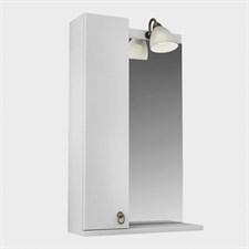Зеркало 55, 1 светильник,шкаф.,полка, лев., Реймс, Белый