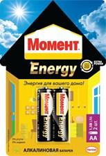БАТАРЕЙКА  МОМЕНТ ENERGY  ТИП AA (2 ШТ. НА БЛИСТЕРЕ) В ШОУ-БОКСЕ (10/100)  ХЕНКЕЛЬ