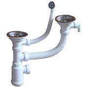 Сифон двойной GRAND 31/2  с круглым переливом, винтом и отводом