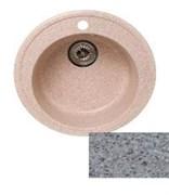 Мойка кухонная Ring d50см /серая/+Сифон Grand 3 1/2  с круглым переливом и винтом