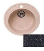 Мойка кухонная Ring d50см /черная/+Сифон Grand 3 1/2  с круглым переливом и винтом